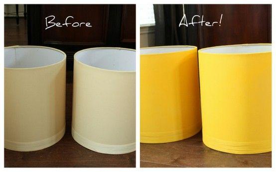 spray paint lamp shades by flora Indulgy.com