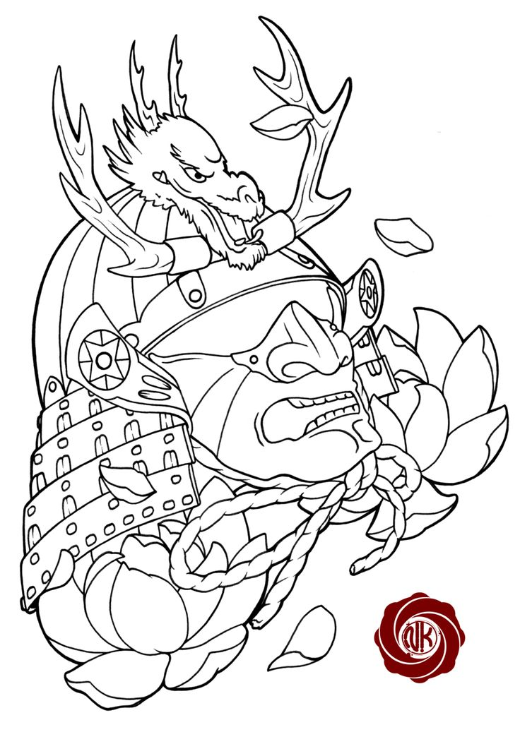 Traditional Japanese Samurai Tattoo Designssamurai Sketch Tattoo With Dragon By Punk On