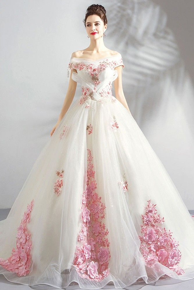 Buy Stunning Fairy Pink Flowers Ball Gown Formal Dress With Long