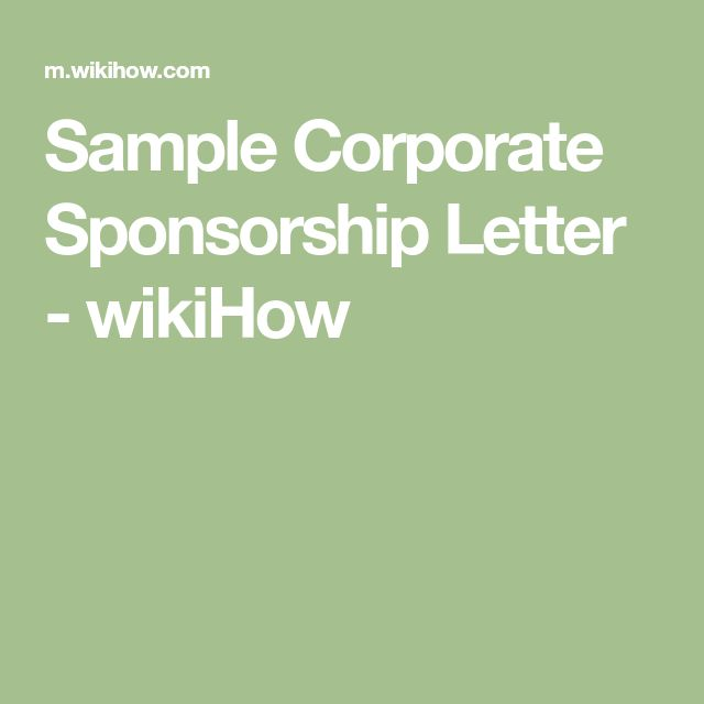Sample Corporate Sponsorship Letter - wikiHow