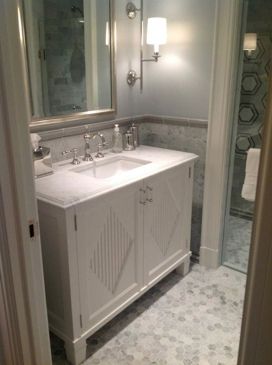 146 best images about tile on pinterest traditional for Blue and silver bathroom ideas