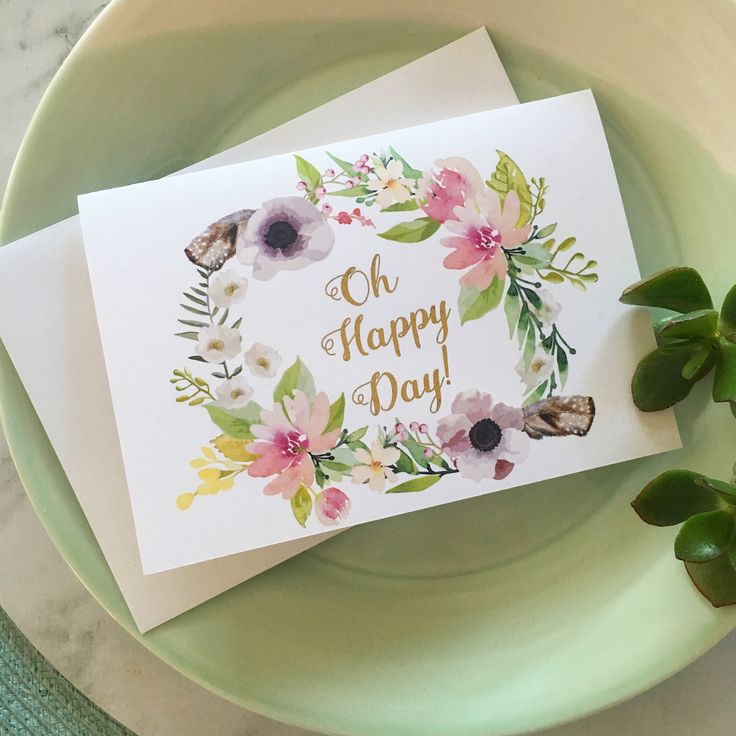 'Oh Happy Day'  Flower wreath greeting card with gold foil