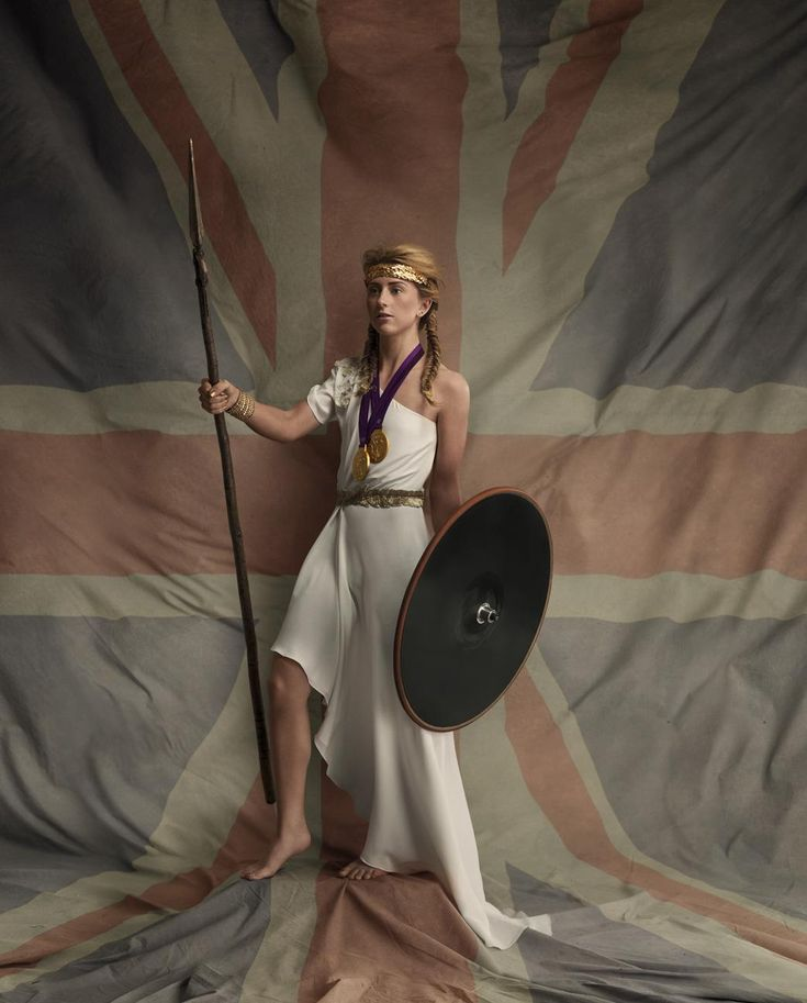 British Olympic Gold medalist Laura Trott in costume as Britannia the female personification of Britain