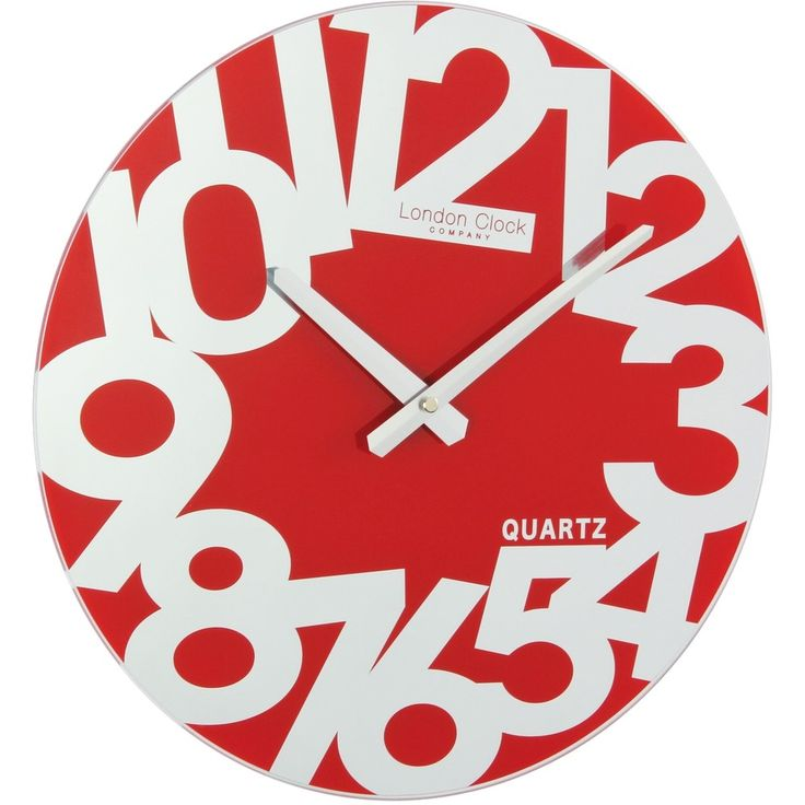 London Clock Company Large Number Red Mirrored Wall Clock - Wall Clocks - Lifestyle Lane