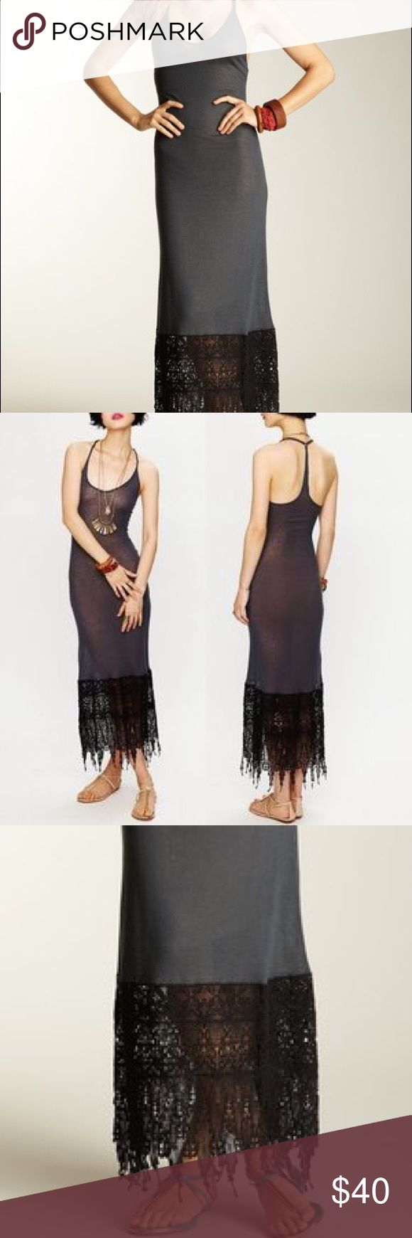 Crochet Maxi Dress Free People Grey Grey maxi dress thin and perfect for a formal summer event or casual night out. It's a good idea to wear a slip underneath! Worn twice Free People Dresses Maxi