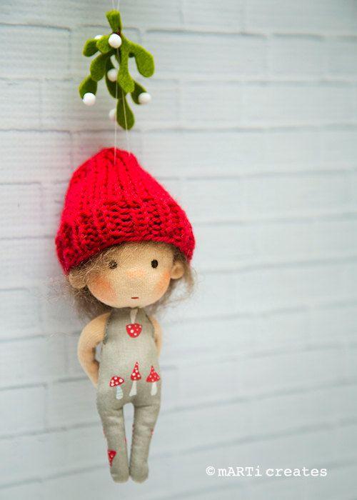 Meet Me Under The Mistletoe - ornament - tiny doll