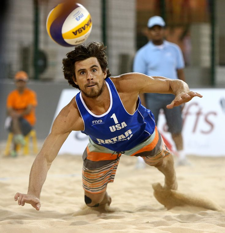 Derek Olson of USA dives for the ball during day two of the FIVB Qatar Open at The Al Gharafa Sports Club on November 05, 2014 in Doha, Qatar.