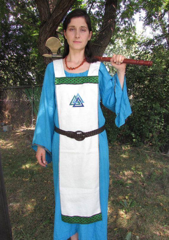 Smokkr Apron Dress with Green Jacquard Trim by FriggasFinery