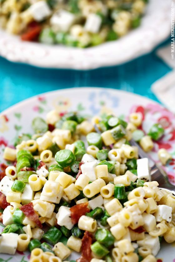 Spring Pasta Salad with Asparagus, Bacon & Feta | FamilyFreshCooking.com