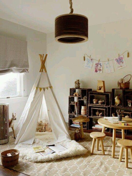Neutral kids room/ tipi / love a den!