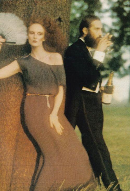 Grace Coddington photographed by David Bailey for Vogue UK, October 1974.