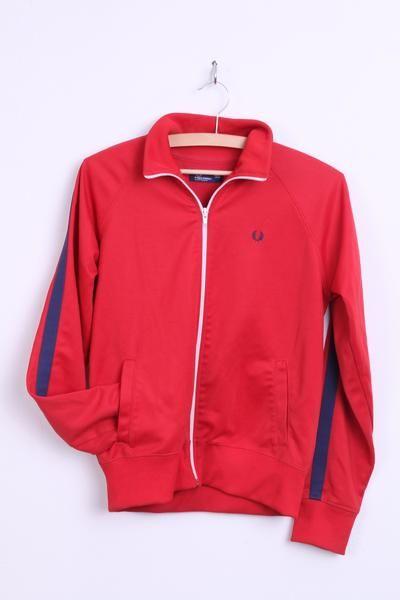 Fred Perry Womens 14 42 XL Sweatshirt Jumper Red Sport Portugal - RetrospectClothes