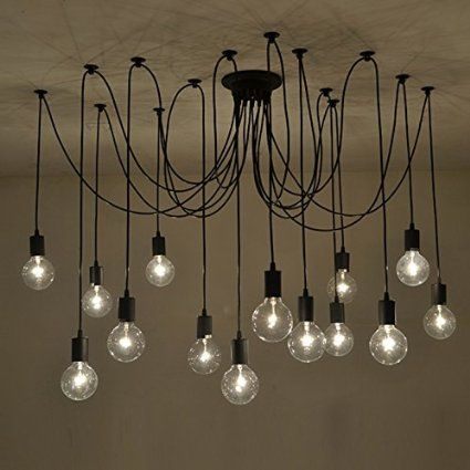 Fuloon Vintage Edison Multiple Ajustable DIY Ceiling Spider Lamp Light Pendant Lighting Chandelier Modern Chic Industrial Dining (Black-14 head cable 200cm/78.7inch each) - - Amazon.com