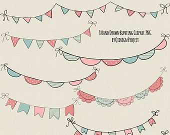 Hand drawn chalk bunting clipart doodle chalk by qidsignproject