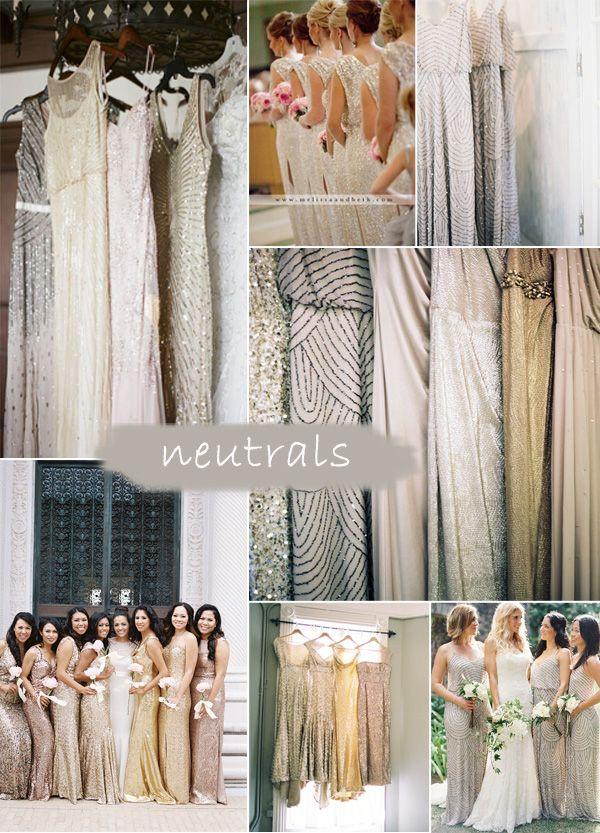 neutral colors vintage gatsby sequins bridesmaid dresses 2015 trends
