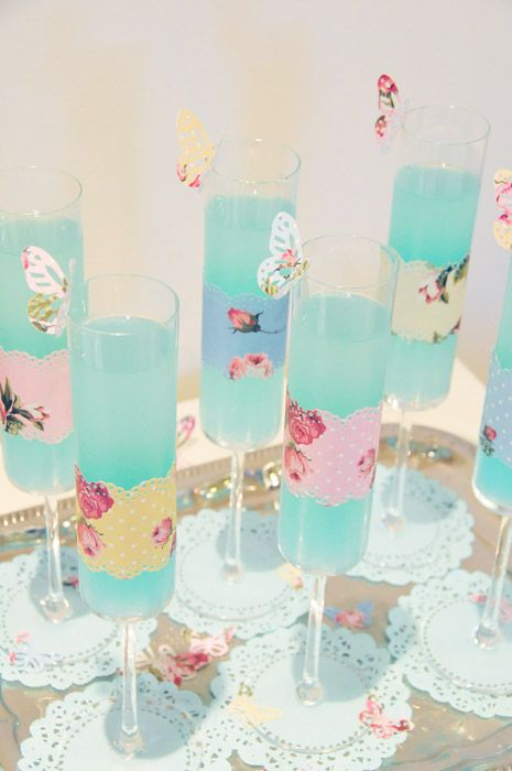 Vintage Tea Party Baby Shower - adore these glasses!