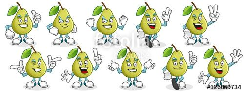 "Download the royalty-free vector ""Pear mascot pack, pear character set, vector set of pear fruit."" designed by ednal at the lowest price on Fotolia.com. Browse our cheap image bank online to find the perfect stock vector for your marketing projects!"