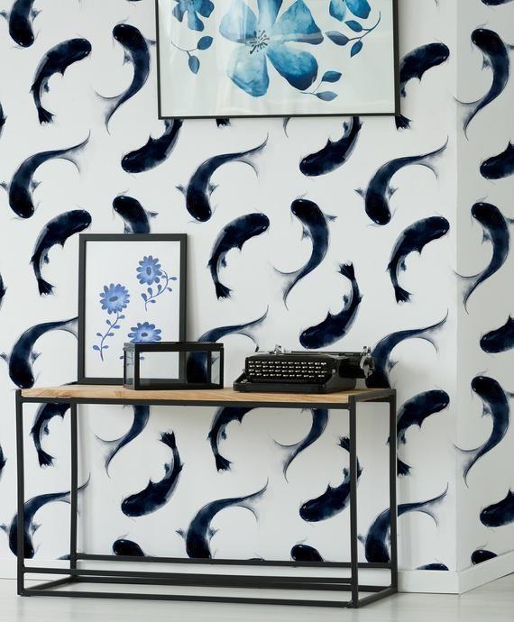 Fish Wallpaper Peel And Stick Wall Mural Animal Hand Painted Etsy In 2020 Animal Mural Fish Wallpaper Wallpaper
