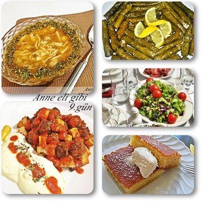 Günün Menüsü...  Günün menüsü  Hanımağa çorbası Pideli köfte Zeytinyağlı yaprak sarma Karışık yeşil salata Portakallı revani  Not: portakallı revaniyi aynı tarifle sade de yapabilirsiniz.