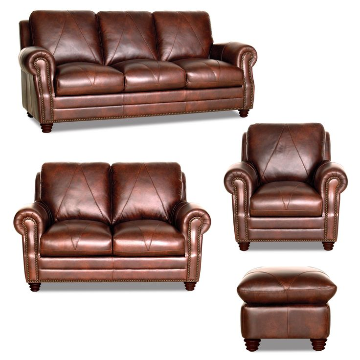 Soloman 4 Piece Collection  Chocolate Brown Leather With Diamond Stitching  And Studs, Simply Gorgeous