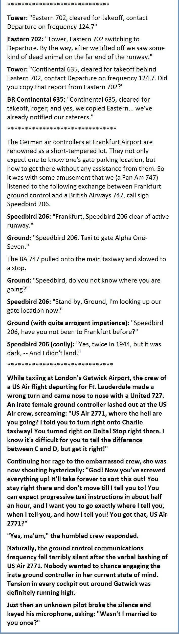 Actual Exchanges Between Pilots And Control Towers. The Last One Is Gold. #humor #image