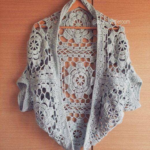 Flower Garden Shrug crochet project by Aurelia Vie | LoveCrochet