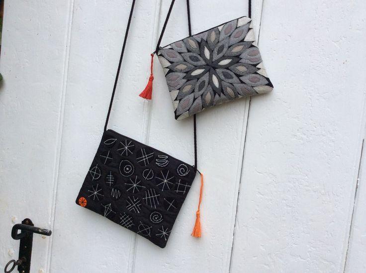 Tasche mit Applikationen Tasche mit genähtem Gekritzel