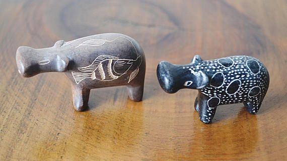 Miniature Stone Hippos Vintage Hand Carved Figurines African