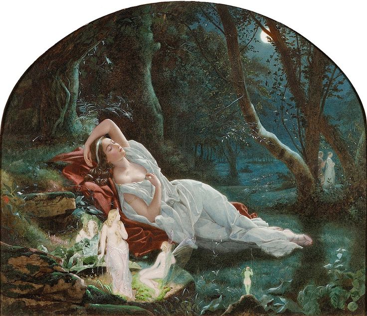 "John Simmons (British, 1823-1876), ""Titania sleeping in the moonlight protected by her fairies"" 