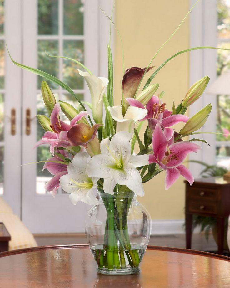 Calla Lily Rubrum Lily Silk Flower Bouquet Romantic Silk Centerpiece Set In Tall Glass Vase