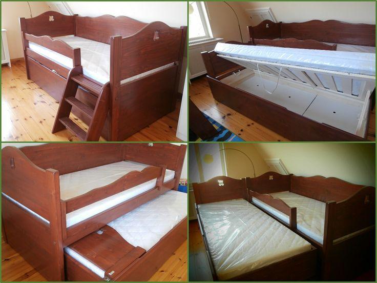 """""""Mindent bele"""" Bonita ágy: vendégággyal, ágyneműtartóval, kis létrával, díszítő kivágással"""