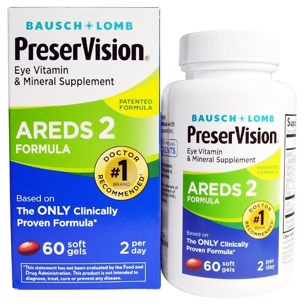 Bausch Lomb Preservision Areds 2 Formula 60 Soft Gels Eye Vitamins Vitamin Supplements Vitamins