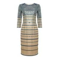 ALICE BY TEMPERLEY-WOMENS FASHION-Women's Dresses & Skirts-Alice By Temperley 3/4 sleeve Ling striped dress, Teal-£209.60-Alice By Temperley 3/4 sleeve Ling striped dress , Shift Dress , Plain , Standard length , Crew-neck , Short-sleeved , Zip fastening , Loose fitting waist , 100% Cotton , Professional launder recommended.