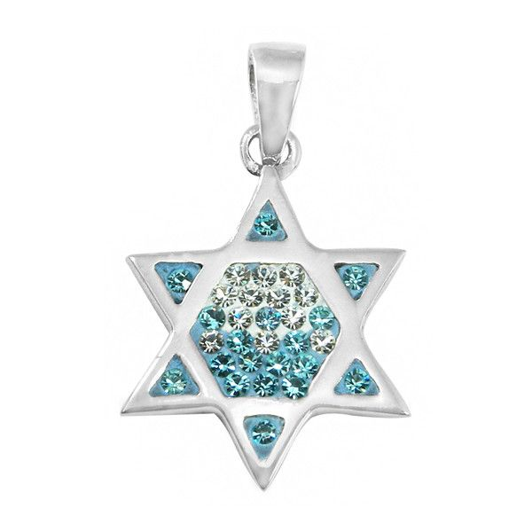 Sterling Silver & Crystal Magen David (Jewish Star) Pendant... (120 BRL) ❤ liked on Polyvore featuring jewelry, pendants, sterling silver jewellery, sterling silver star pendant, pendant jewelry, sterling silver star jewelry and sterling silver crystal pendant