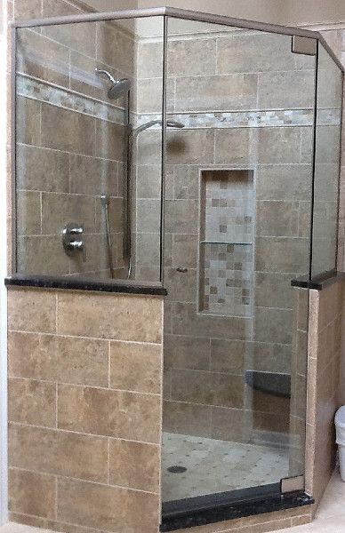 Neo-Angle Glass Shower Doors | Binswanger Glass | Neo-Angle shower enclosure with pony walls and brushed nickel finish