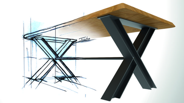 tisch industrial massivholz baumkante metall von m bel. Black Bedroom Furniture Sets. Home Design Ideas