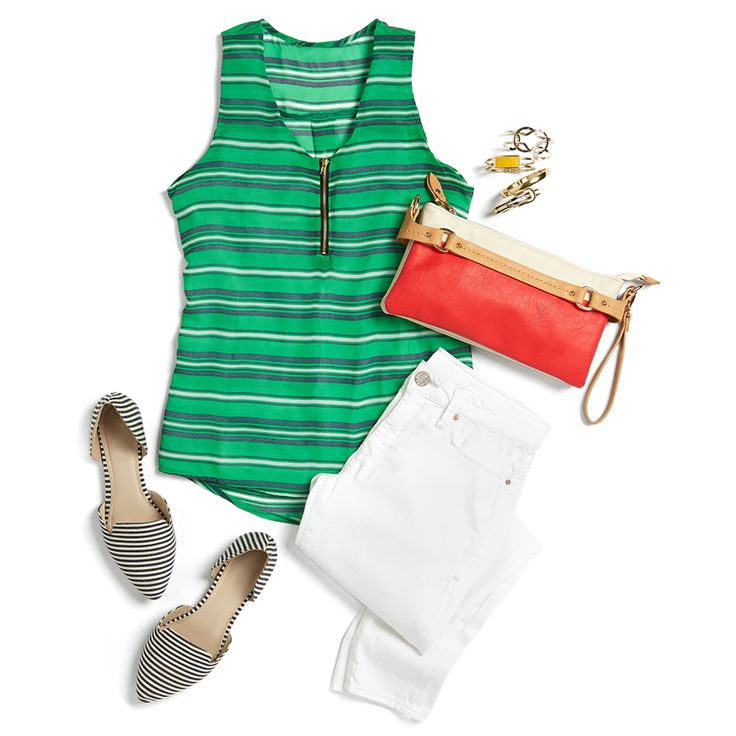 The brighter the better is the preppy girl's mantra and a kelly green tank is a great addition to your uniform. Make your outfit pop by pairing over a crisp foundation like white jeans & a bright bag in a contrasting color.