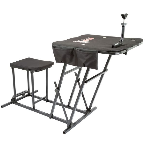 Our Portable Shooting Bench with Gun Rest is ideal for every hunter and gun enthusiast, with three adjustable heights for adults and youths, and an adjustable gun rest.-BOBBY