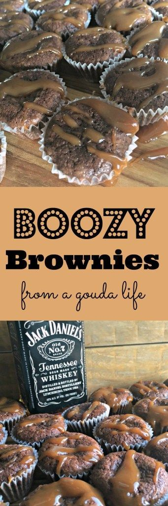Boozy Brownies ~ THIS IS A MUST PIN because everyone knows a good football game begins at the tailgate. Fudgy, moist, packed with flavor and if that's not enough, a salted caramel-Jack Daniels drizzle on top.