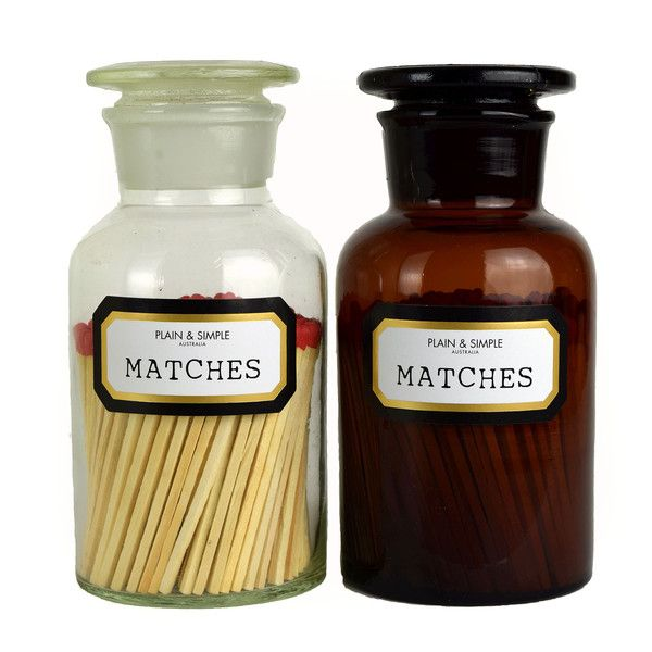 Matches - Buy Now at The Candle Library. Plain & Simple apothecary glassware are hand blown which make each piece original and uniqu