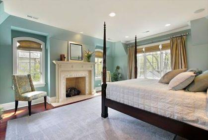 blue, cream, beige master bedroom