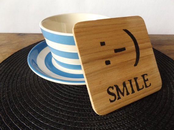 Smiley face emoticon coaster Oak Wood Coaster by MakeMemento