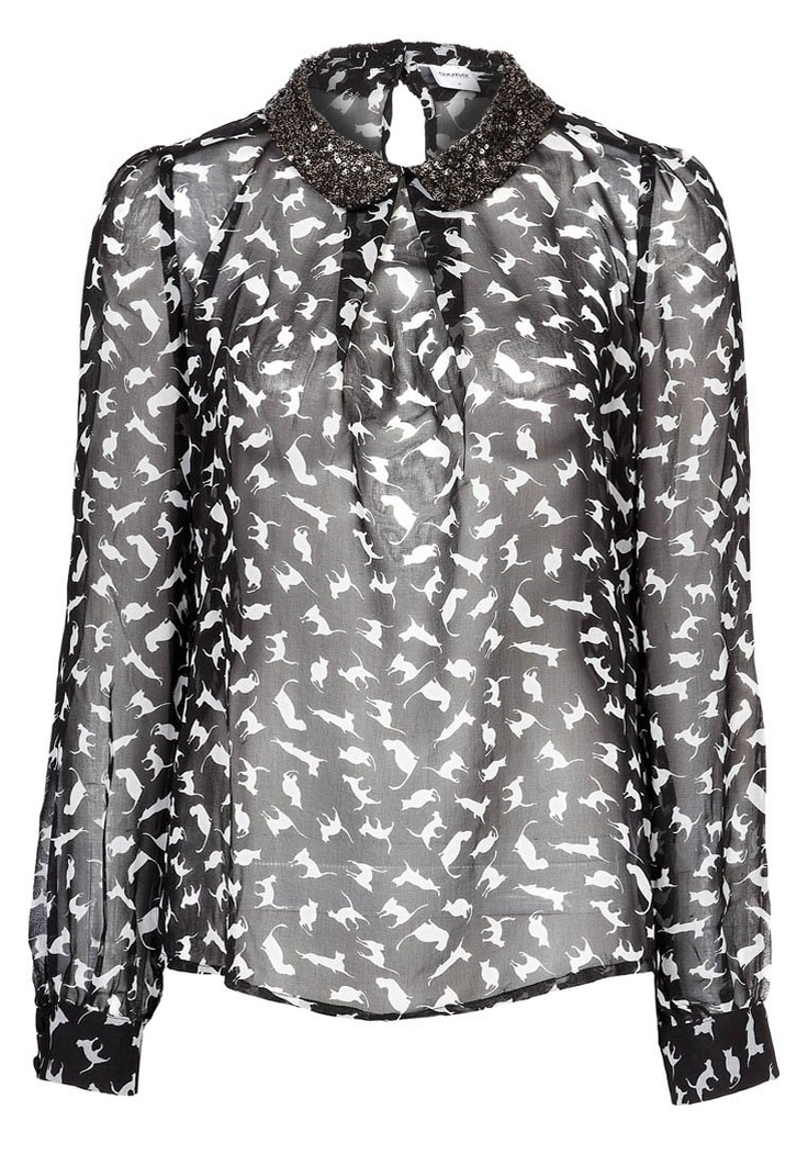 OXMO  BLOUSE WITH CAT PRINT