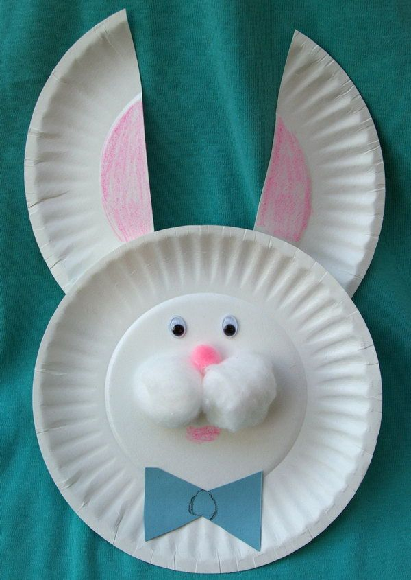 Easter bunny from small paper plates. Make a paper plate Easter bunny with two small paper plates, cotton balls, and wiggly eyes.