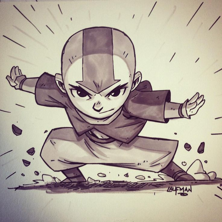 Aang Commissions by https://instagram.com/dereklaufman/ #thelastairbender #aang #commission #prismacolor #marker
