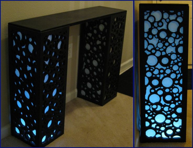 My entryway table by *psychofranky on deviantART this table is CNC machined wood. Each leg is lined with paper and lit with LEDs