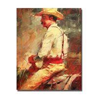 Корова мальчик верховая езда живопись ручной работы современный рисунок холст стены искусства краски большого размера картины маслом дешевые
