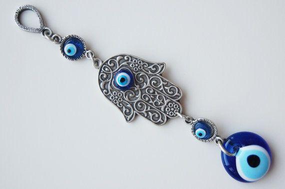 Hamsa Hand Blue Evil Eye Silver Plated Turkish by TheEvilEyeBAZAAR