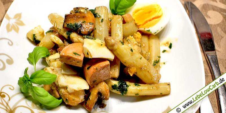 Low Carb Salat Rezept - Spargel-Champignon-Eier-Salat auf lebelowcarb.de