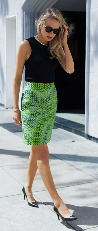 graphic lime green tweed skirt + black accents: @roressclothes closet ideas #women fashion outfit #clothing style apparel
